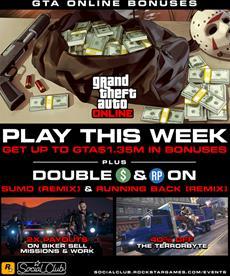 GTA Online: Bis zu 1,35 Mio. GTA$-Geschenk, doppelte Belohnungen in Gegner-Modi, Rabatte & mehr