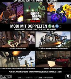 GTA Online: Modi mit doppelten GTA$, Sonderangebote für Executives-Büros, letzte Möglichkeit zum Charakter-Transfer & mehr
