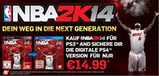 2K Sports bietet mit dem Next-Generation-Upgrade für NBA®2K14 auf Sony PlayStation®-Systemen individuelle Spielerlebnisse für die aktuelle und neue Konsolengeneration