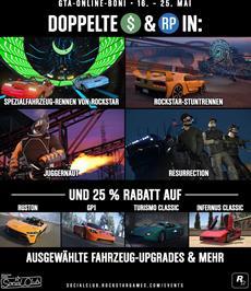 Doppelte GTA$ & RP auf Rockstar-Stuntrennen, Juggernaut, Resurrection & mehr